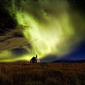 Aurora Borealis Near A Church