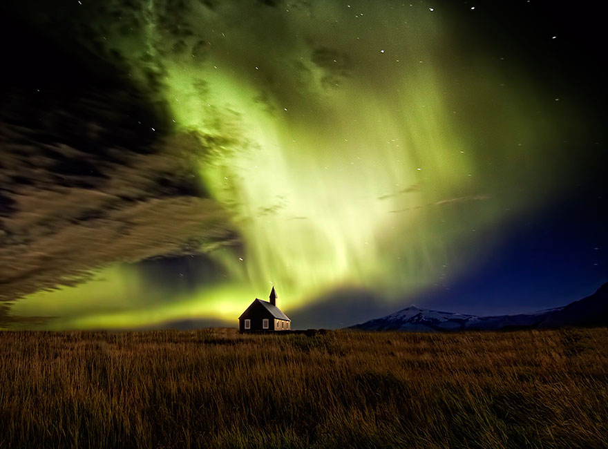 Aurora Borealis Near A Church
