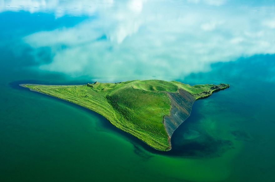 An island in Lake Mývatn, northern Iceland