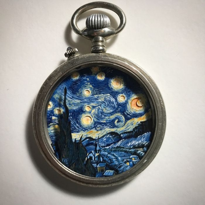 I Created A 'Starry Night' Miniature Painting Inside A Vintage Pocket Watch