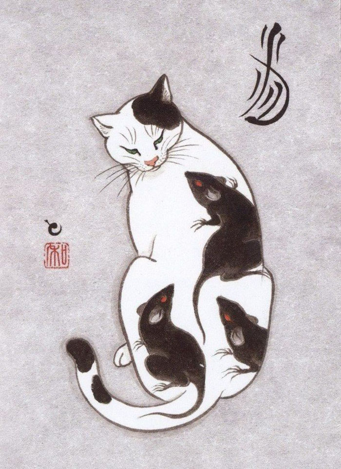 Cats Tattooing Each Other In Surreal Japanese Ink Wash ...