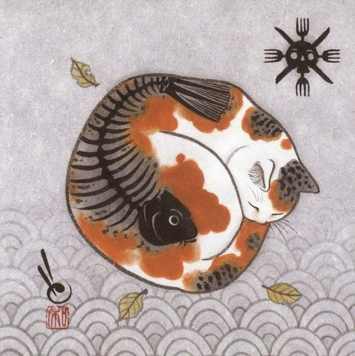 japanese-tattoo-paintings-monmon-cats-kazuaki-horitomo-27