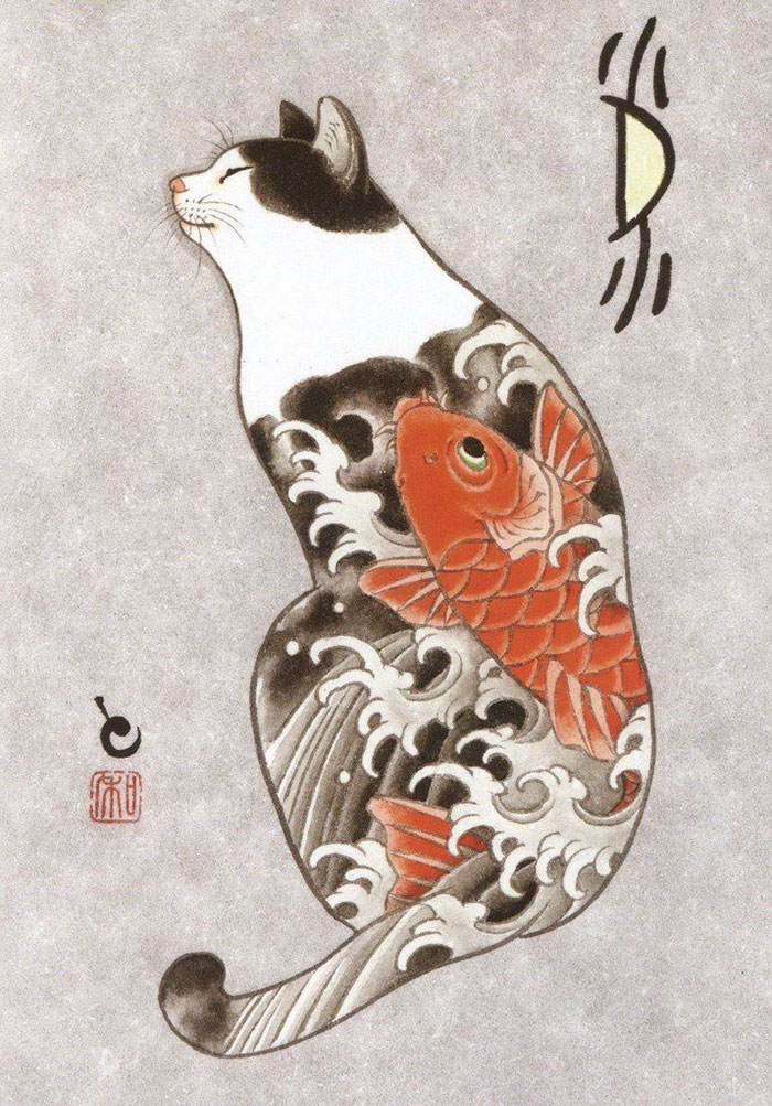 Cats tattooing each other in surreal japanese ink wash paintings bored panda - Dessin dragon japonais ...