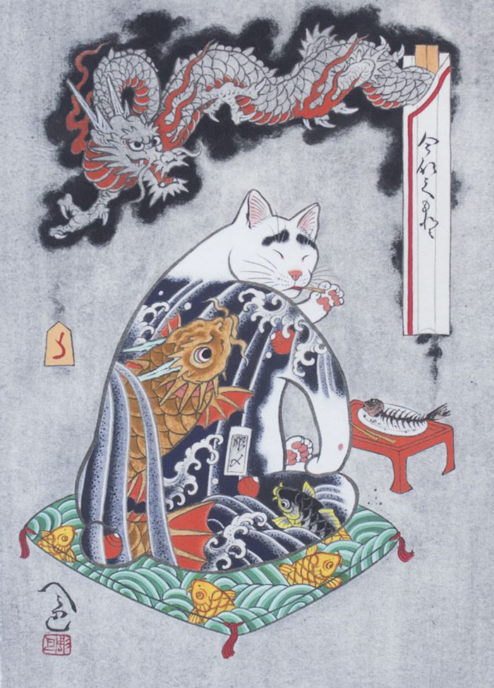 japanese-tattoo-paintings-monmon-cats-kazuaki-horitomo-41
