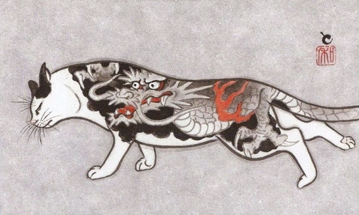 japanese-tattoo-paintings-monmon-cats-kazuaki-horitomo-8