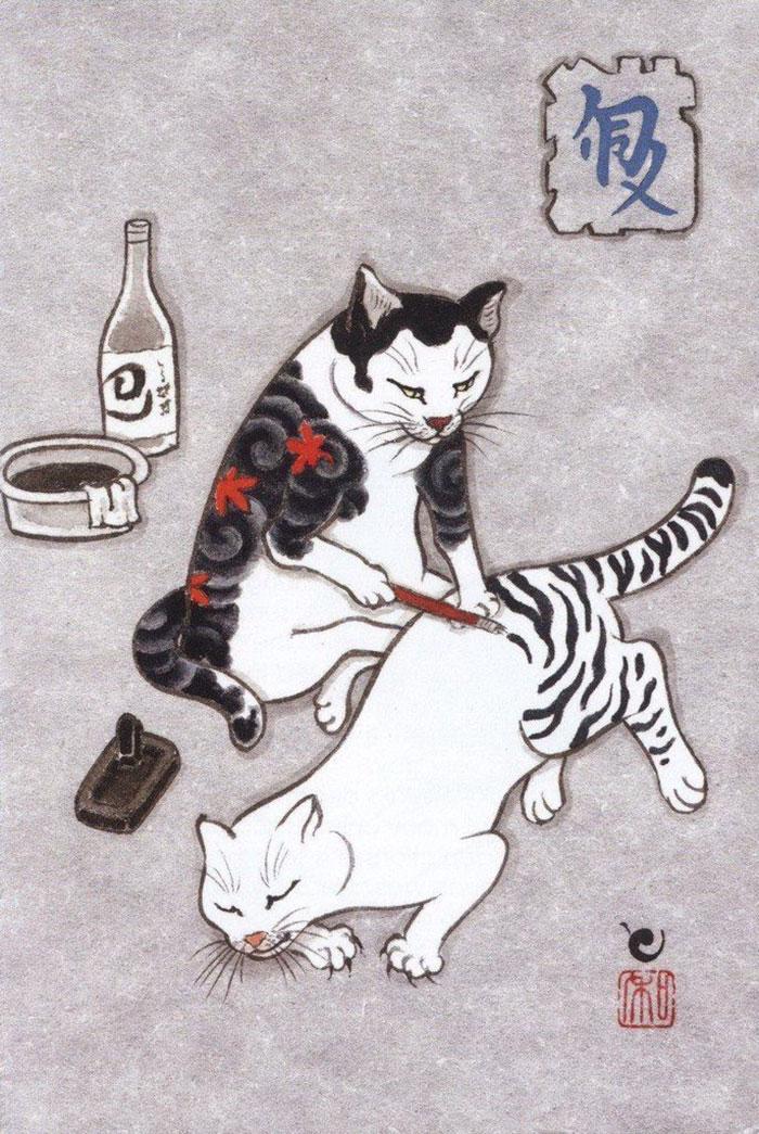 japanese-tattoo-paintings-monmon-cats-kazuaki-horitomo-9