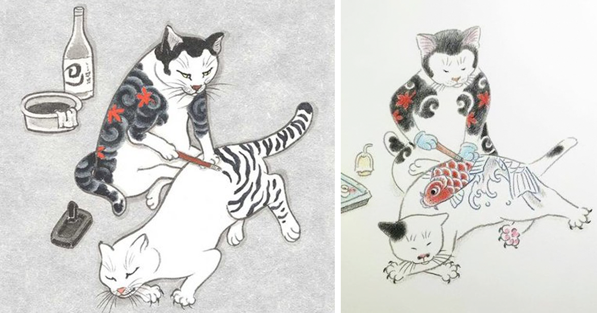 Favoriete Cats Tattooing Each Other In Surreal Japanese Ink Wash Paintings  &ZA81