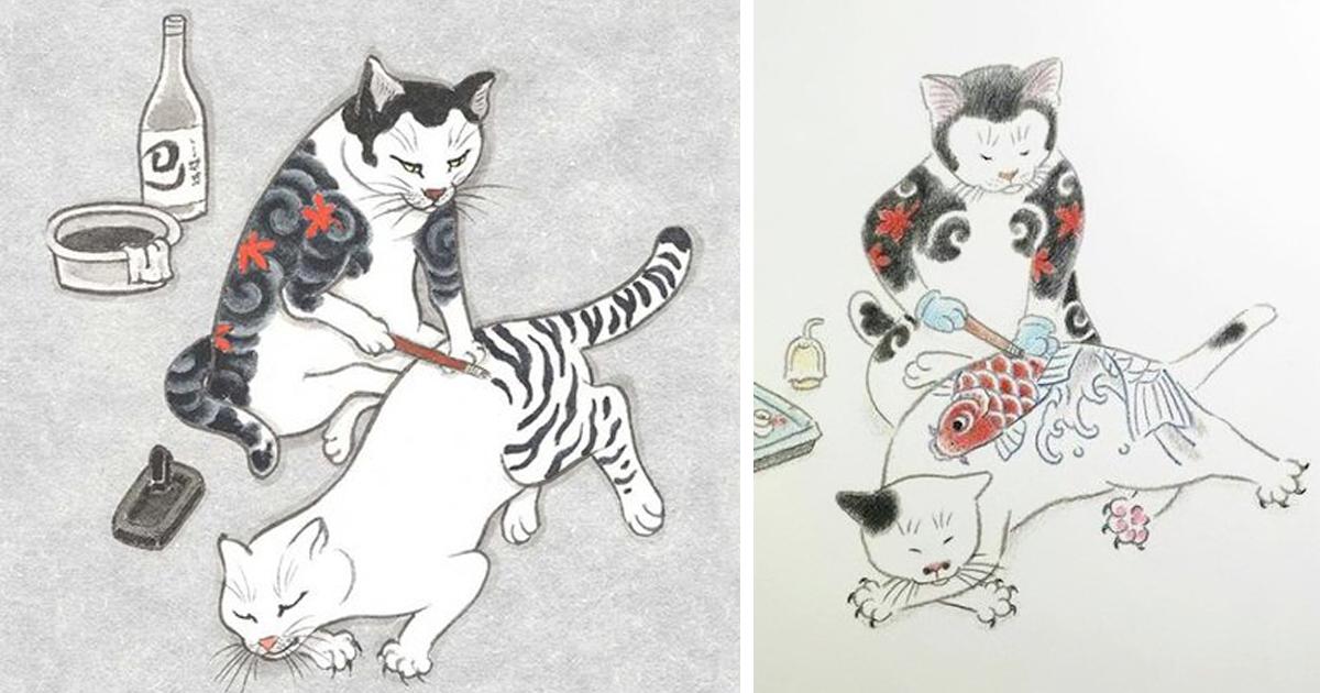 Surreales dibujos japoneses en tinta con gatos tatundose  Bored
