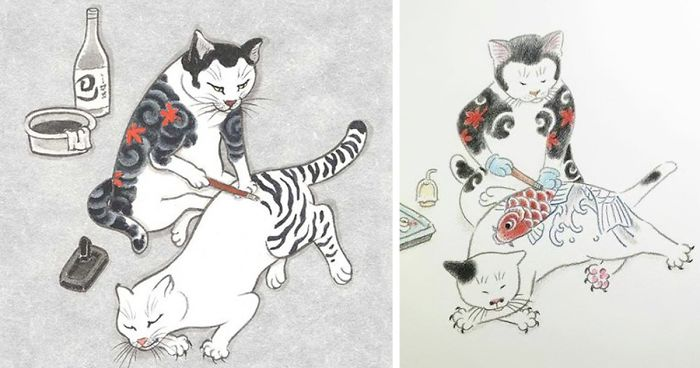 Cat Surreal Art Tattoo Design