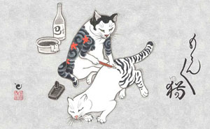 Cats Tattooing Each Other In Surreal Japanese Ink Wash Paintings