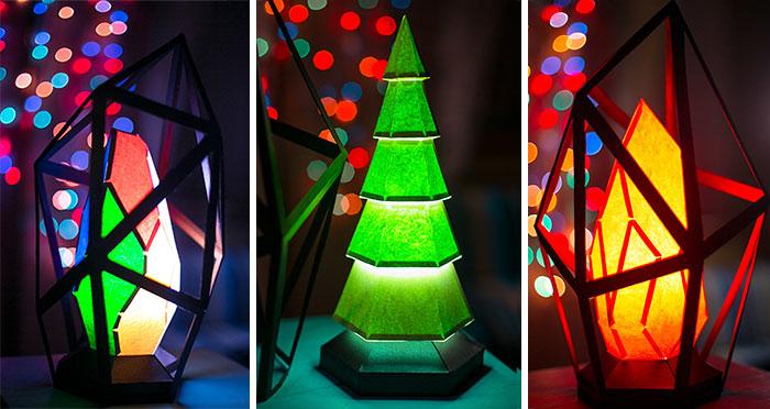 Artist Creates Diamond-Shaped Paper Lamps