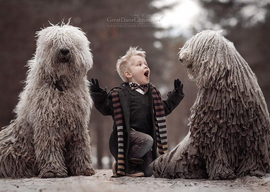 This Giant Furry Dog Playing With A Kid Will Make Your Day Bored - Tiny children and their huge dogs photographed in adorable portraits by andy seliverstoff