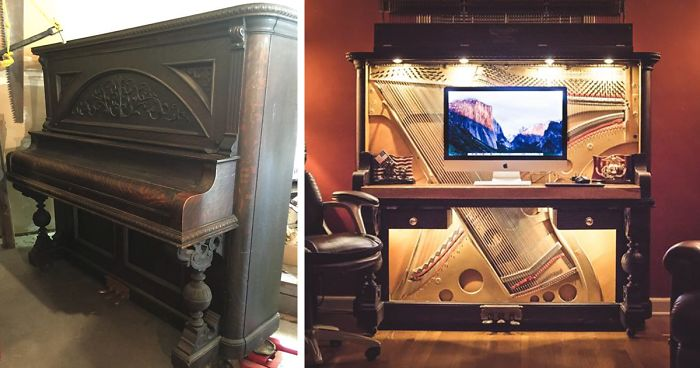 I turned a upright piano into a luxurious desk bored panda