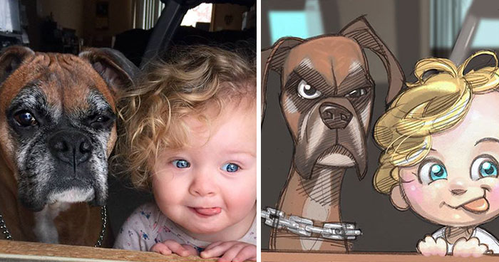Illustrator Turns People And Their Pets Into Cartoon Characters
