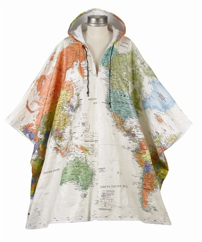 Hooded World Map Tyvek Poncho