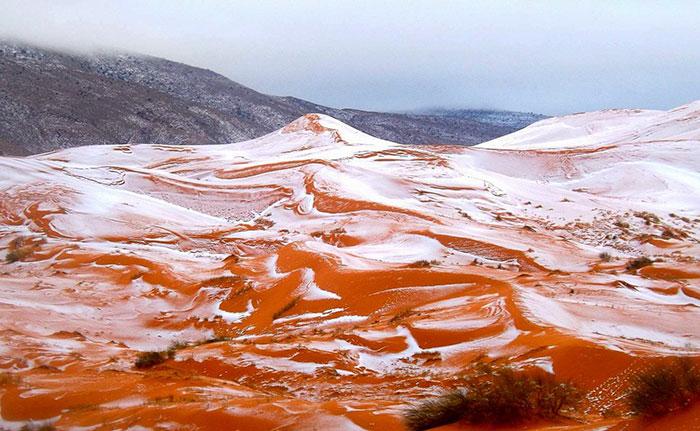 Nieva en el Sáhara por primera vez en 37 años