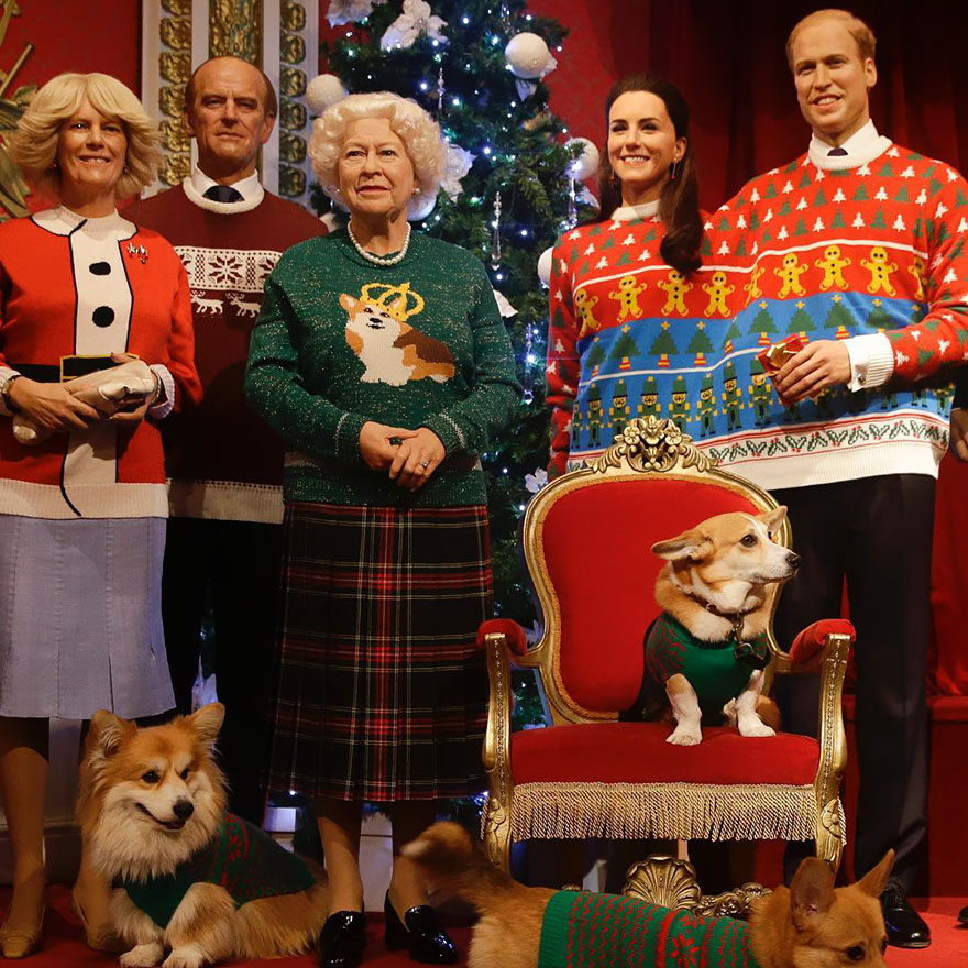 royal-family-wax-figurines-ugly-christmas-sweaters-2