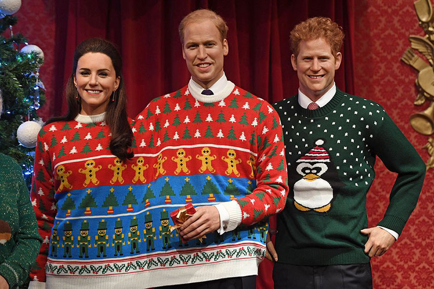 royal-family-wax-figurines-ugly-christmas-sweaters-5