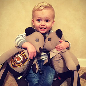 Son Of Cop Killed In Line Of Duty Receives Teddy Bears Made From His Uniform