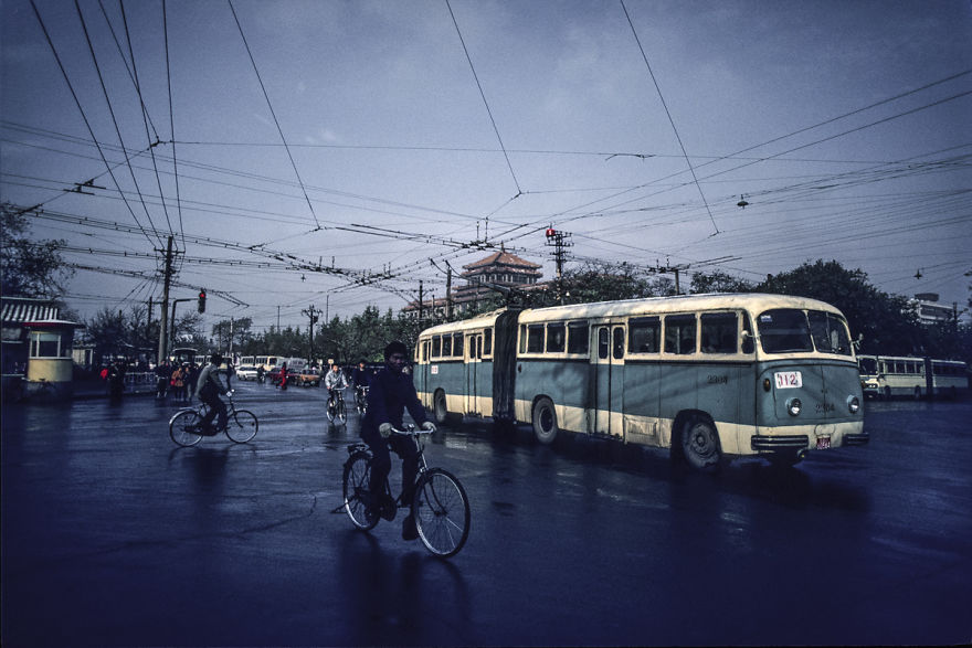 Trolleybus In Front Of The National Art Museum, Beijing, 1987