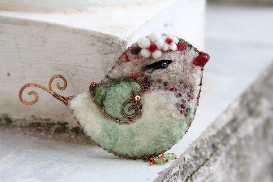 My Felt Bird Brooches Made Like A Photo