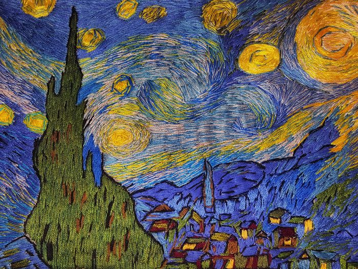I 'Painted' Vincent Van Gogh's 'The Starry Night' Using Needle And Thread