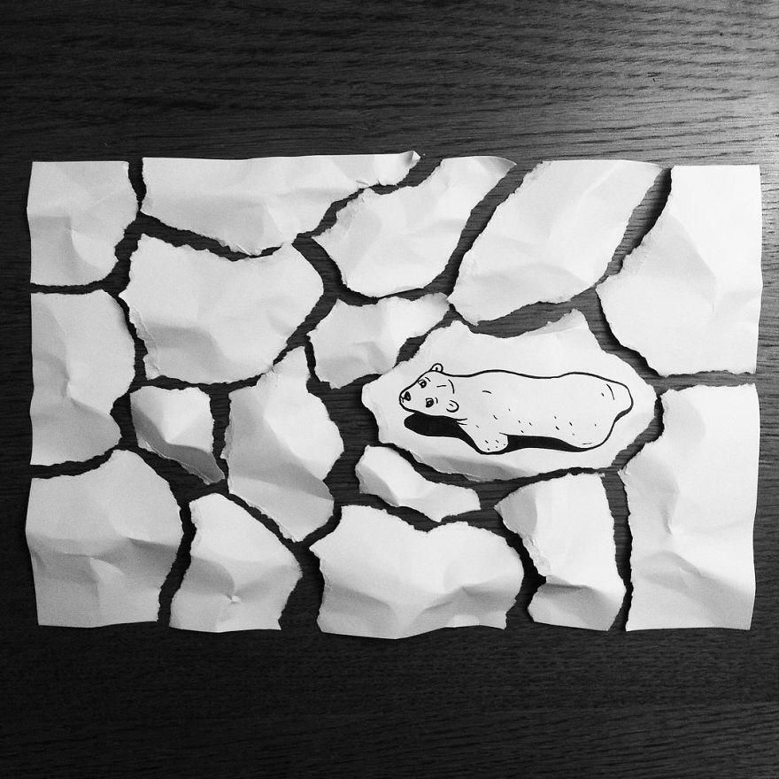 Este ilustrador usa ingeniosos trucos 3D para dar vida a sus dibujos