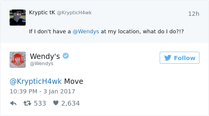 Obvious Answer From Wendy's Twitter