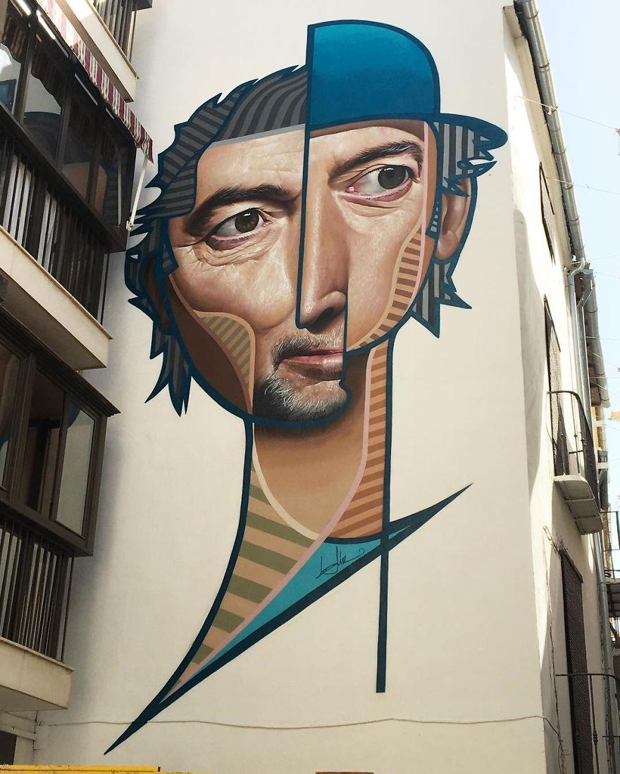 Spanish Artist Creates Picasso-Inspired Murals Combining