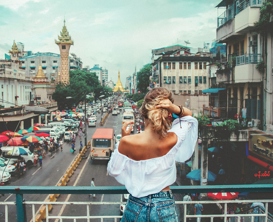 Yangon, Myanmar. Busy Streets In Yangon City With Golden Elements Anywhere You Look