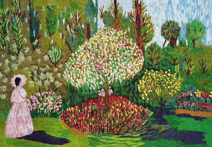 I 'painted' Claude Monet's 'jeanne Marguerite Lecadre In The Garden' Using Needle And Thread