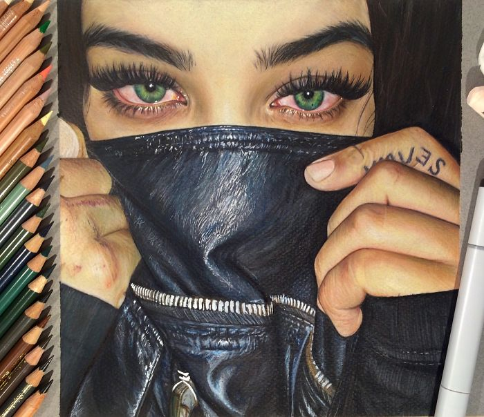 I Create Colorful Photorealistic Drawings With Colored Pencils