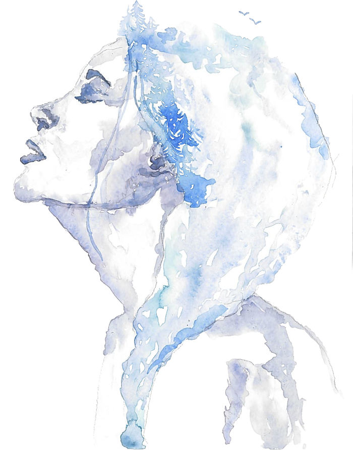 I Paint Watercolor Blendscapes Turning Portraits Into Stories