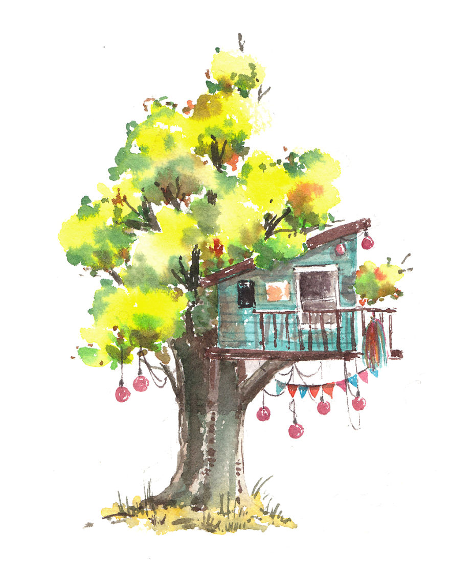 I Use Watercolours To Paint Whimsical Tree Houses | Bored Panda for Tree Drawing With Watercolor  8lpfiz
