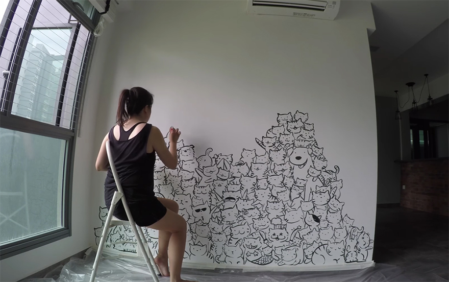 The Owners Asked Me To Personalize Their Boring Wall, And Since They Had  Two Cats I Decided To Draw A Mountain Of Cats