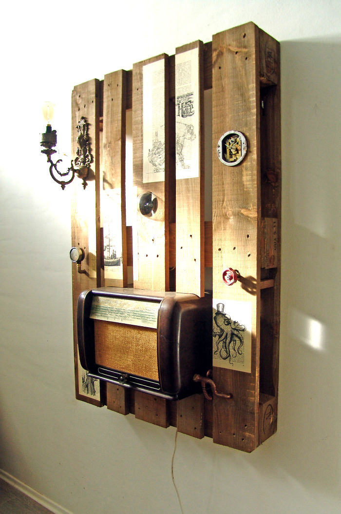 Other Steampunk Themed Details: Vintage Table Clock, Pressure Indicator And  Various Old Book Paper Prints