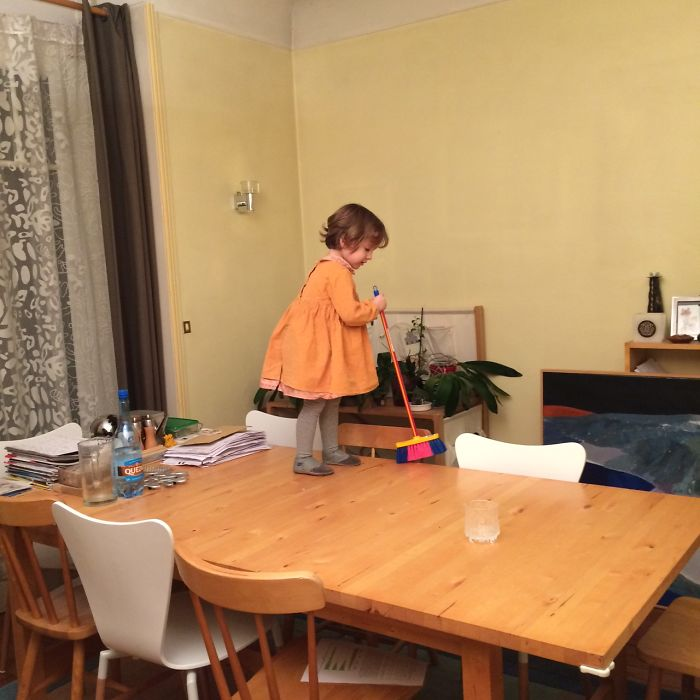 Asked My Two-year-old To Clean The Table While I Did The Dishes… Found Her Like This.