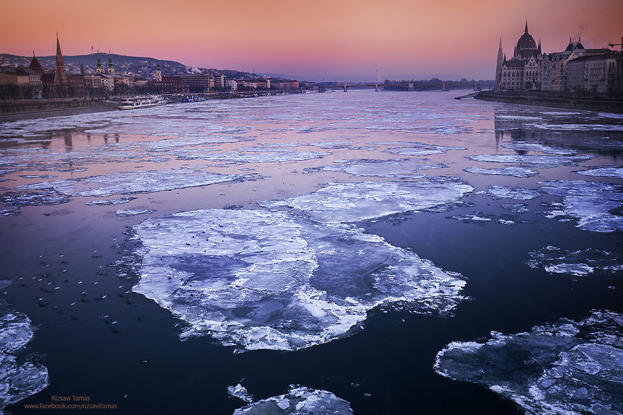 View Of The Frozen Danube In Budapest