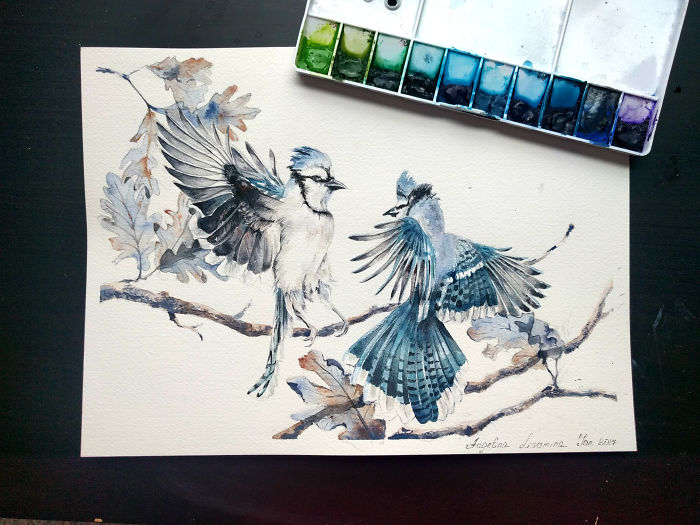 Watercolor Birds To Celebrate My First Anniversary Of Painting With Watercolor