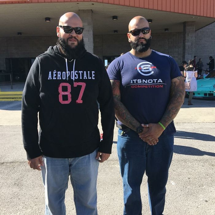 My Fiancé Ran Into His Doppelgänger At A Car Show. I Called The Guy Over And Made Them Take A Picture Together.