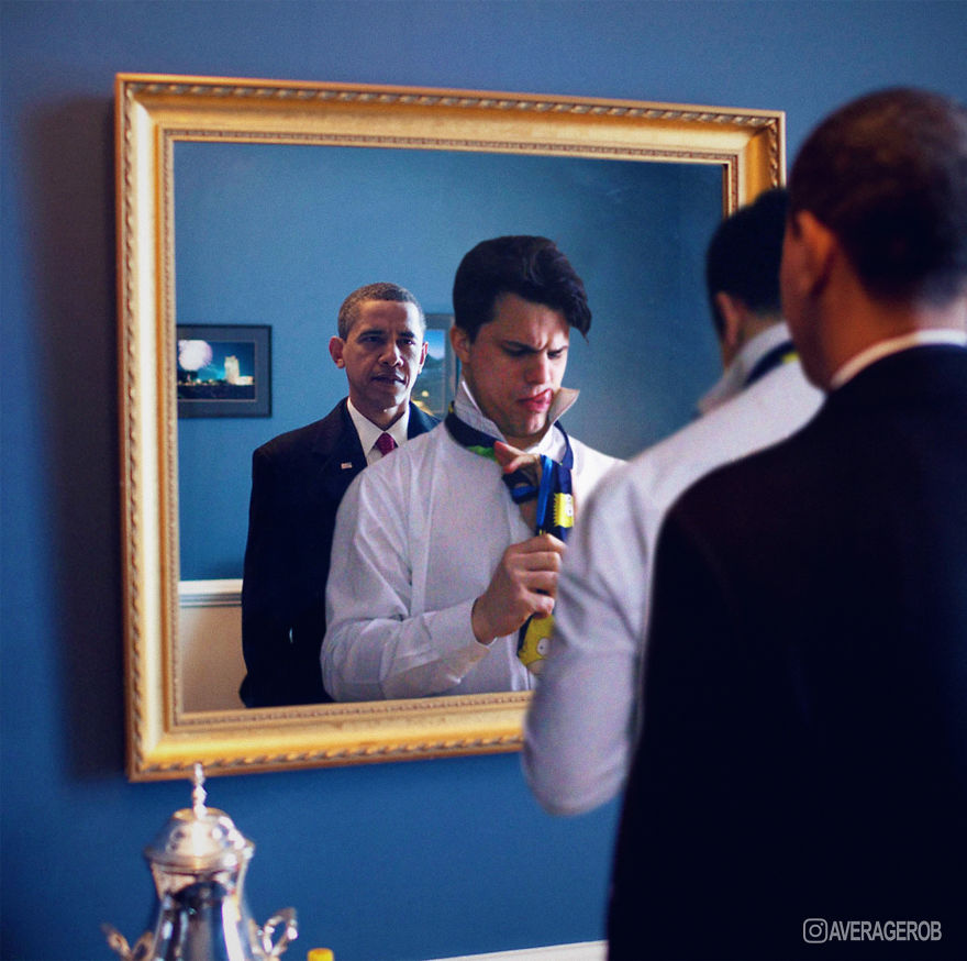 Here You See An Impatient Barack Waiting For Rob To Tie His Tie...