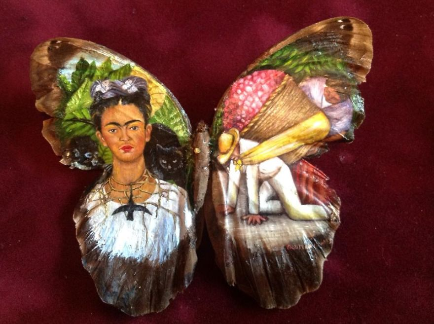 ===En Alas de mariposa=== Paintings-on-Real-butterflies-wings-587bf063f015d__880