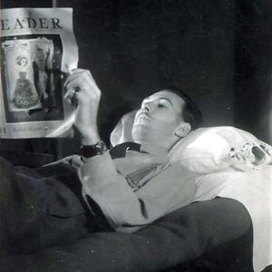 Raf Officer T. W. Hudspith Enjoying Some Light Reading, 1945