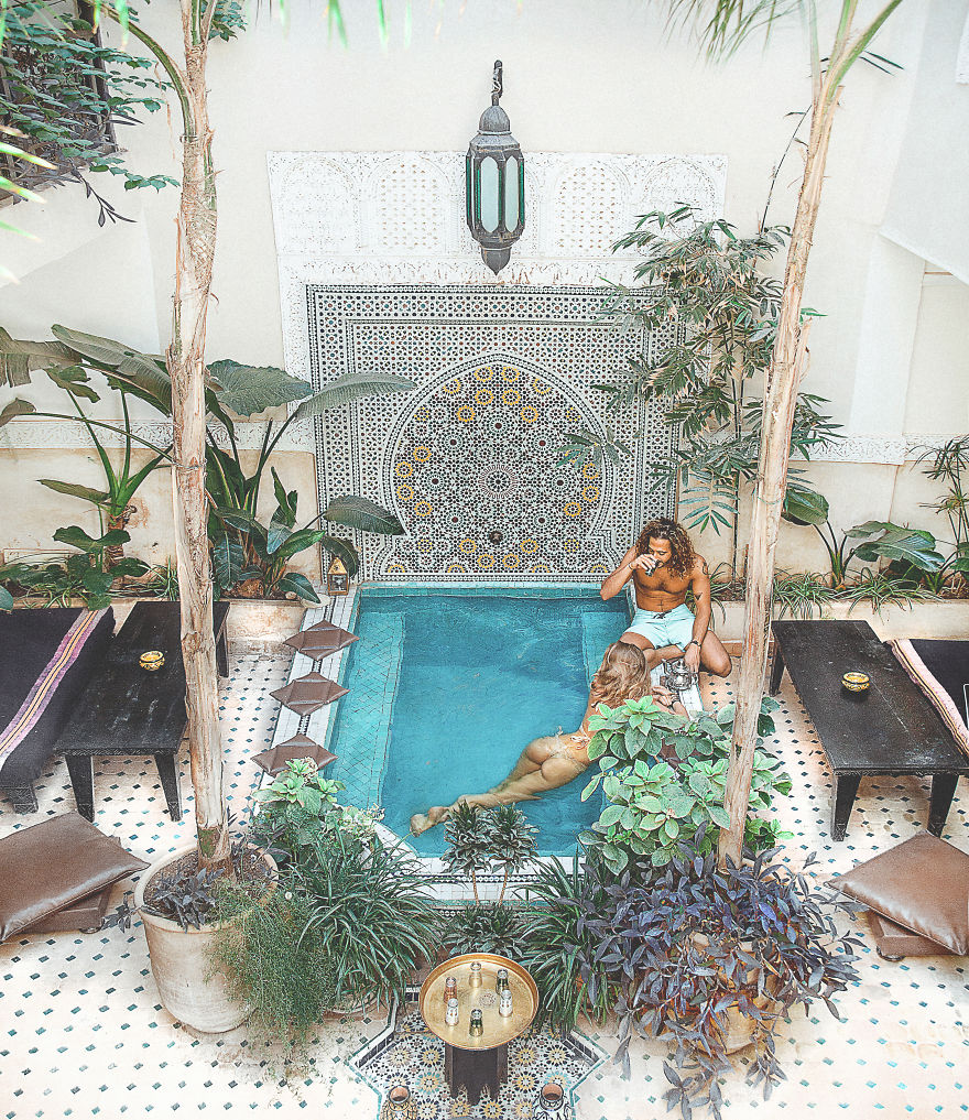 Marrakech, Morocco. Spending Mornings With Traditional Mint Tea And Dips In The Pool