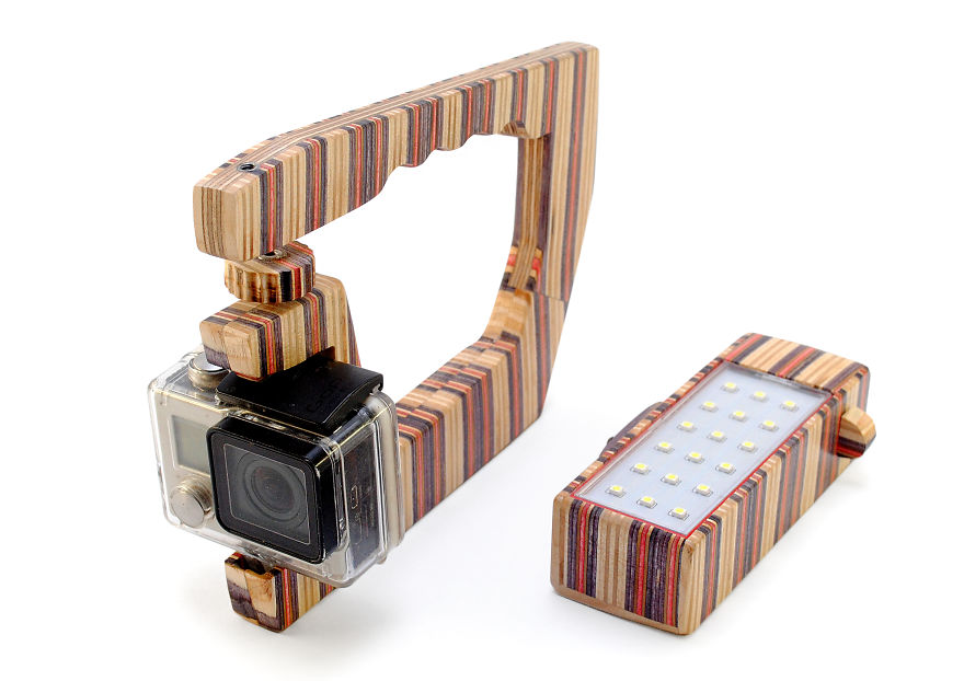 Gopro Handle And Led Light Out Of Recycled Skateboards