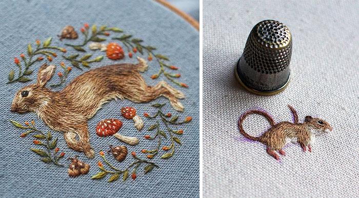 Nuevos e intrincados animales bordados, por Chloe Giordano