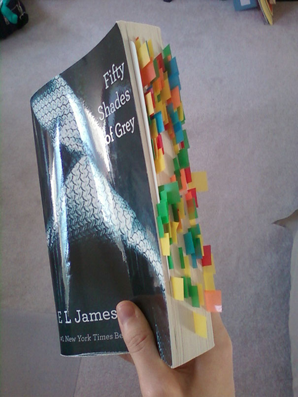 My Moms Copy Of Fifty Shades Of Grey. I Dare Not Look At What Those Bookmarks Represent