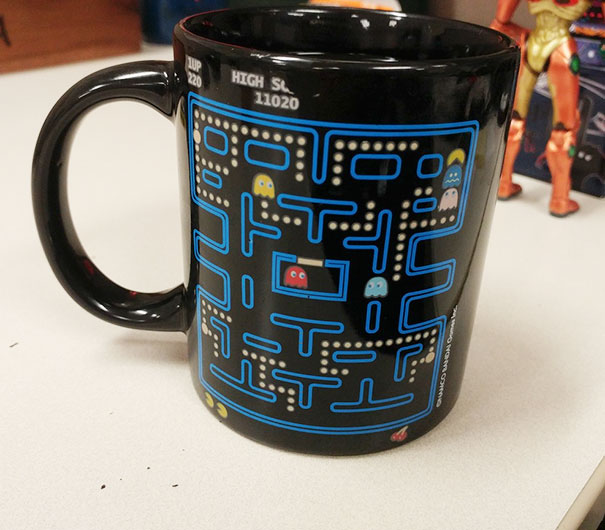 I've Been Drinking Out Of This Mug For A Month. How The Fuck Did Pac Man Get There Without Eating Those Dots!?