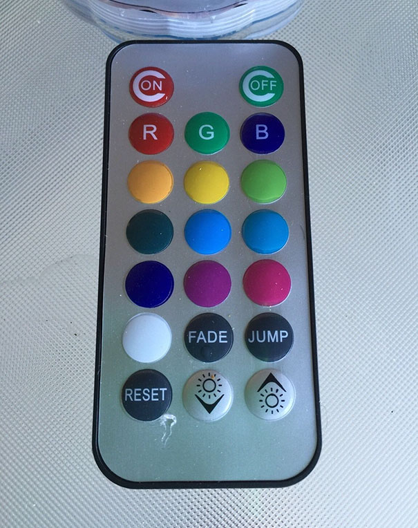 This Remote Has A Red On Button And Green Off Button