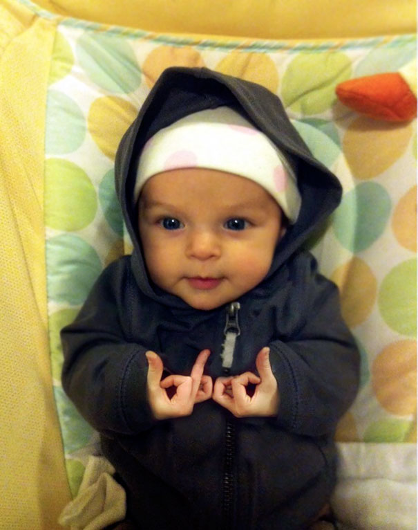 [13 Photo] Funny Baby Of The Most Badass Looking Babies Ever..!